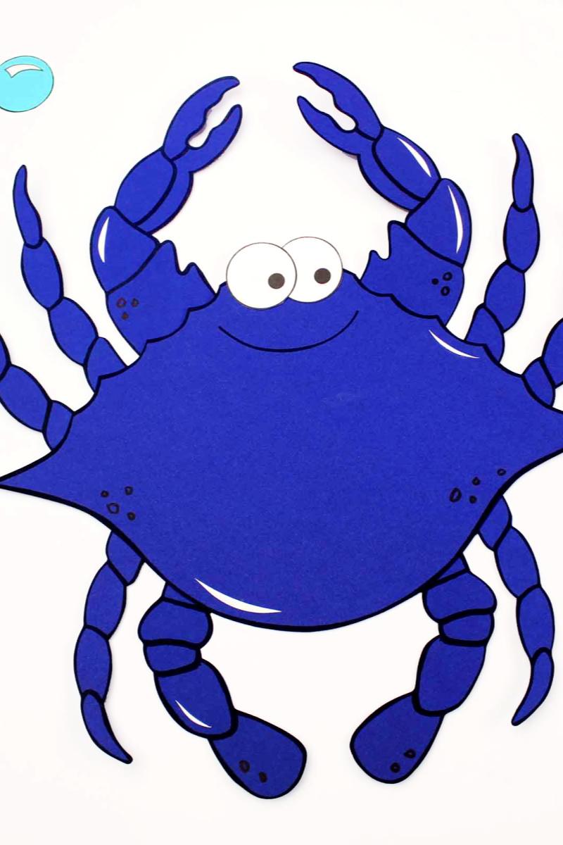 Free Printable Paper Blue Crab Craft #bluecrab #bluecrabcraft #crab #crabcraft