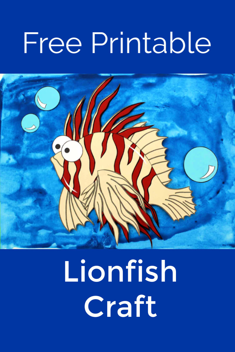 Free Printable Paper Lionfish Craft #Lionfish #LionfishCraft #FishCraft