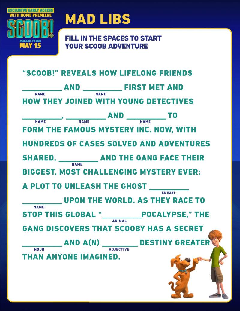 Free Printable Scooby Doo Mad Libs #Scoob #ScoobyDoo #MadLibs