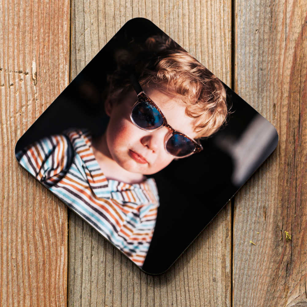 photo coaster little boy with sunglasses