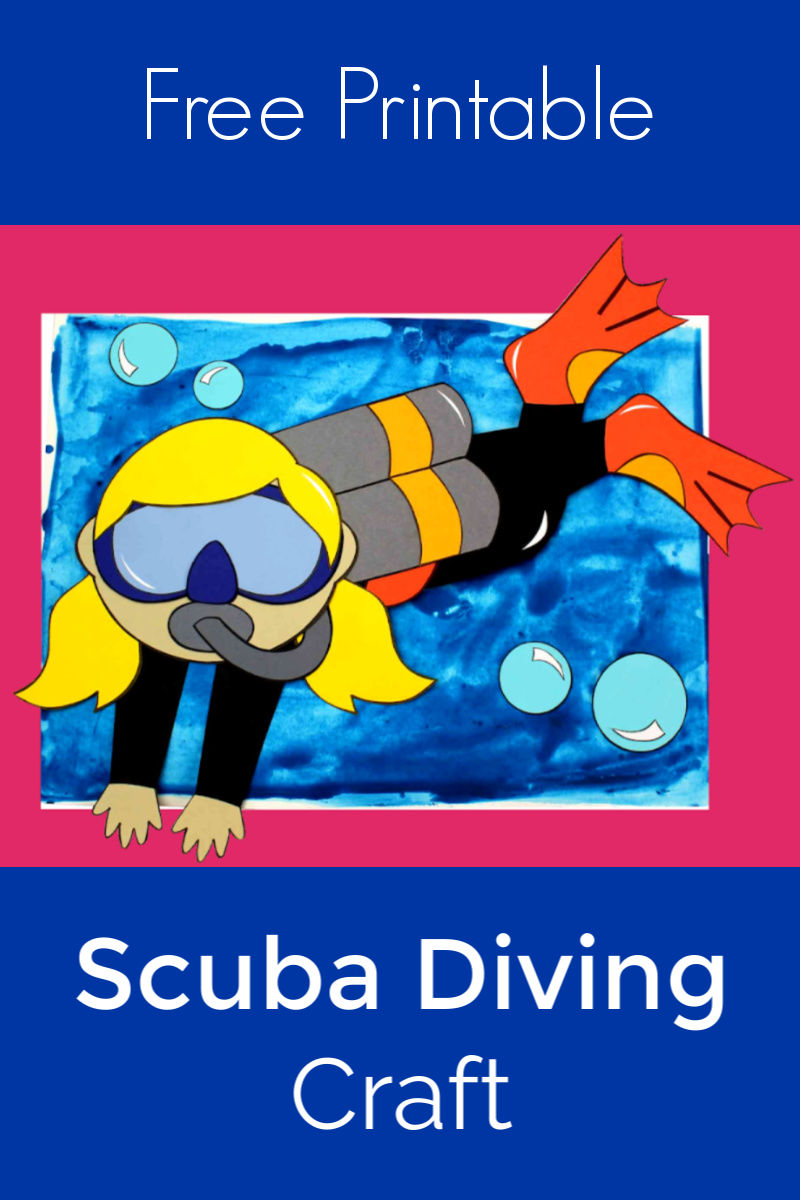 Girl Scuba Diving Craft with Free Template #Scuba #ScubaCraft #ScubaDiver #ScubaDiving #UnderTheSeaCraft