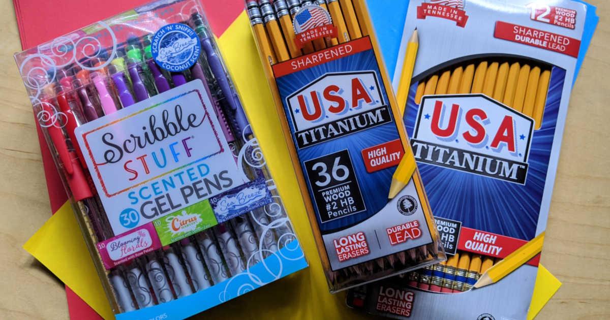 titanium pencils and scribble gel pens