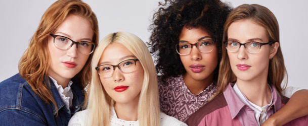 women wearing warby parker glasses