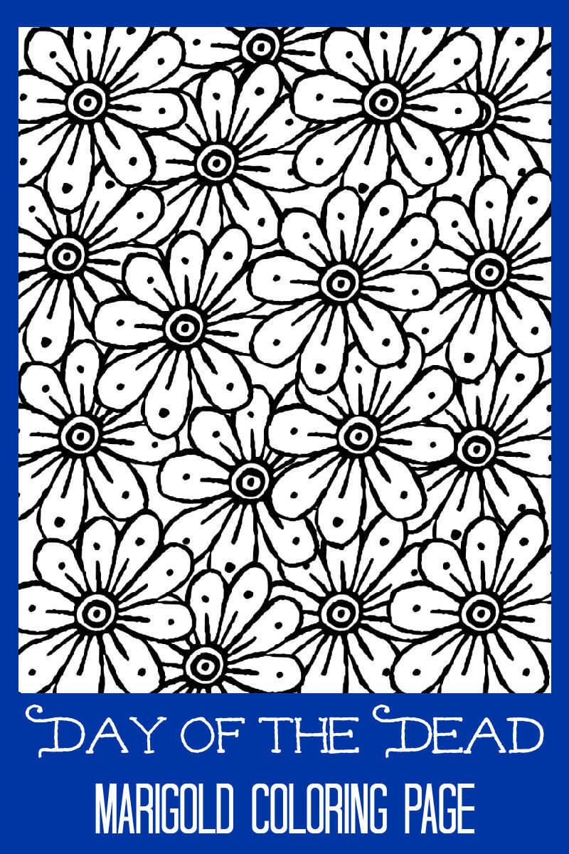 pin day of the dead marigold coloring page