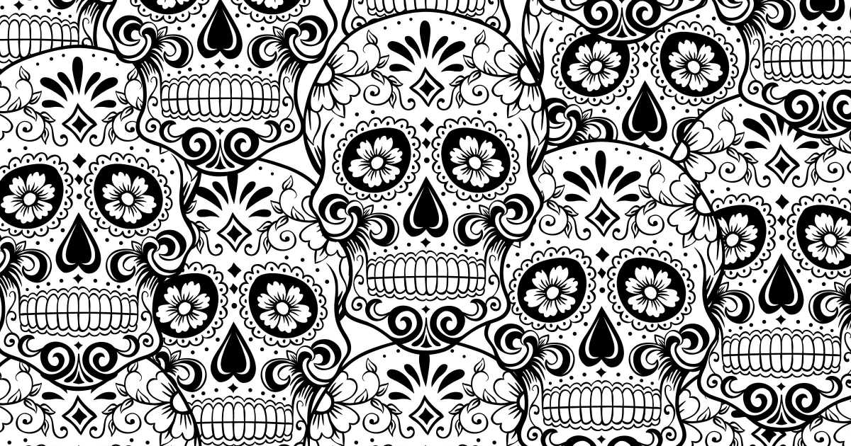 feature sugar skull adult coloring page