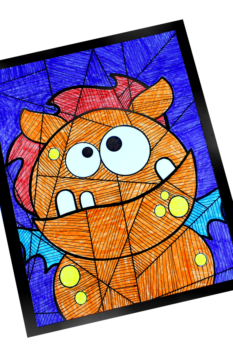 Silly Monster Coloring Page for Halloween