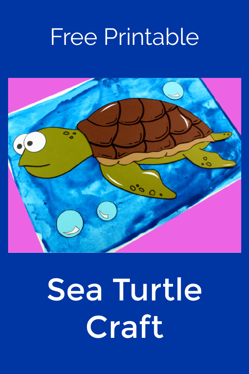 Sea Turtle Craft with Free Template #Turtle #TurtleCraft #SeaTurtle