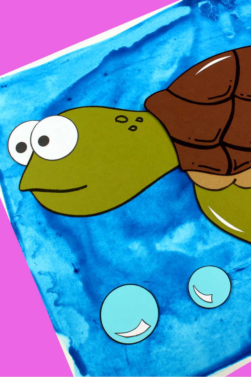 Sea Turtle Craft with Free Template #Turtle #TurtleCraft #SeaTurtle