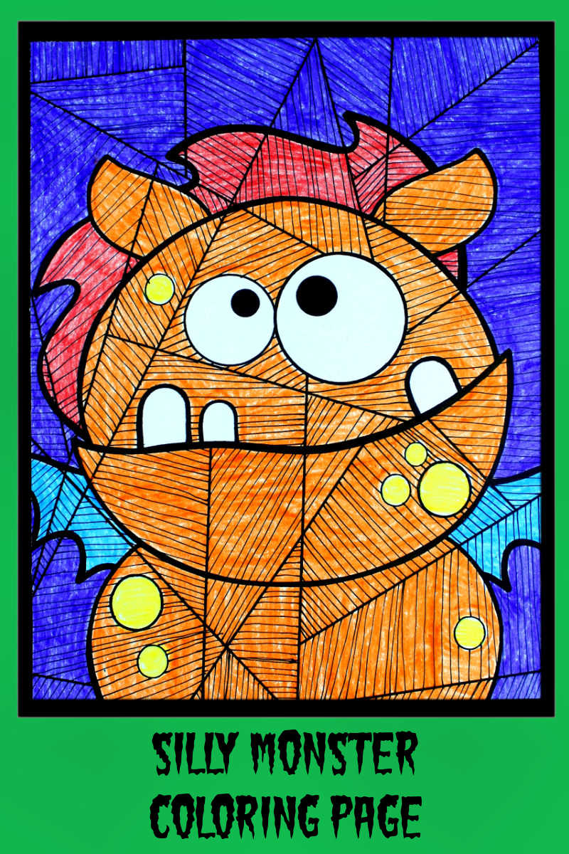 pin silly monster coloring craft