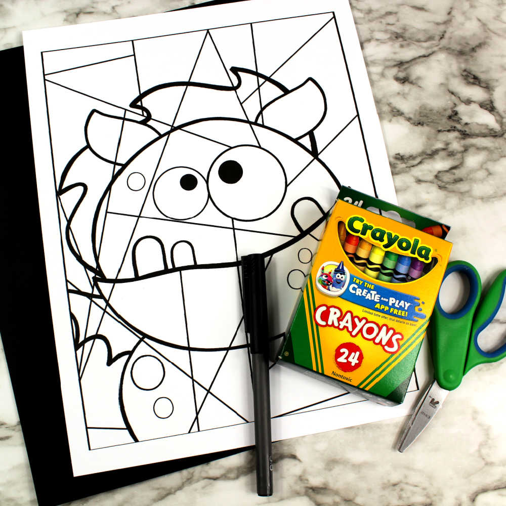 supplies for silly monster line art