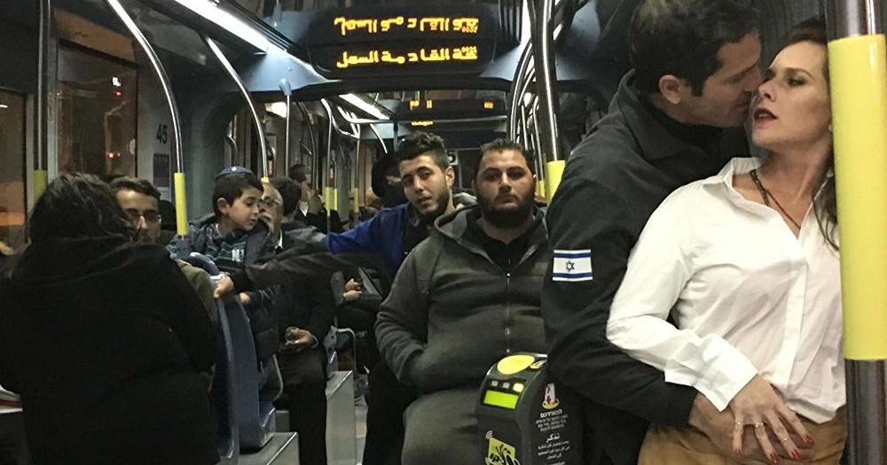 Tramway in Jerusalem film scene