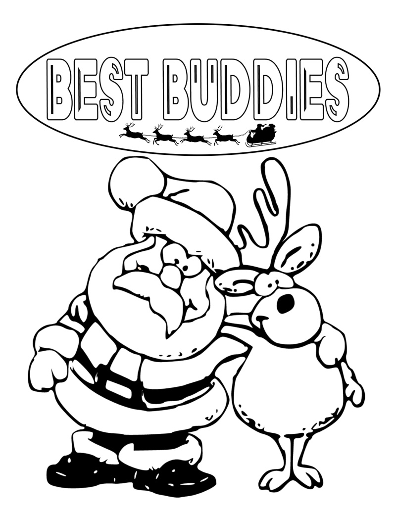 christmas buddies coloring page