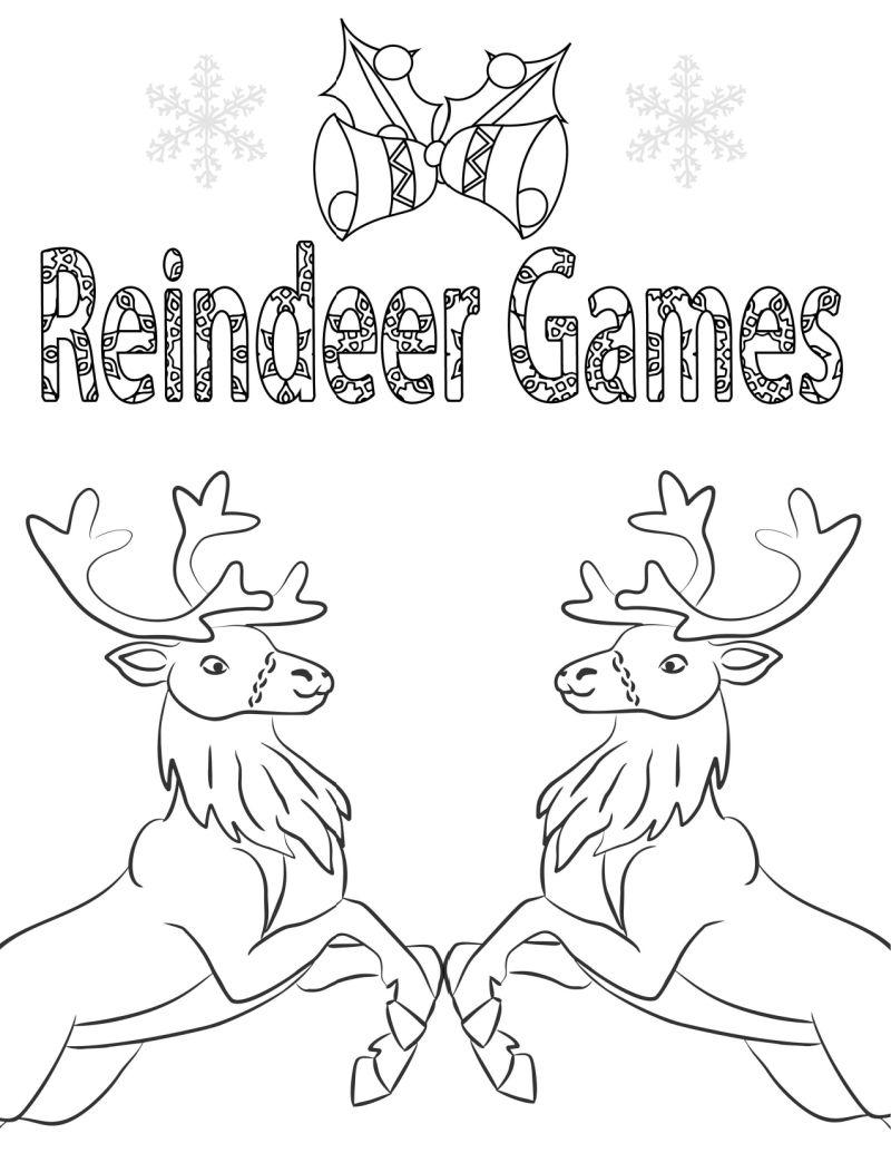 christmas reindeer games coloring page