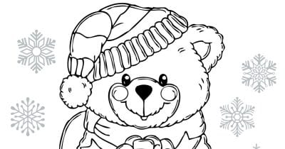 feature christmas bear coloring page