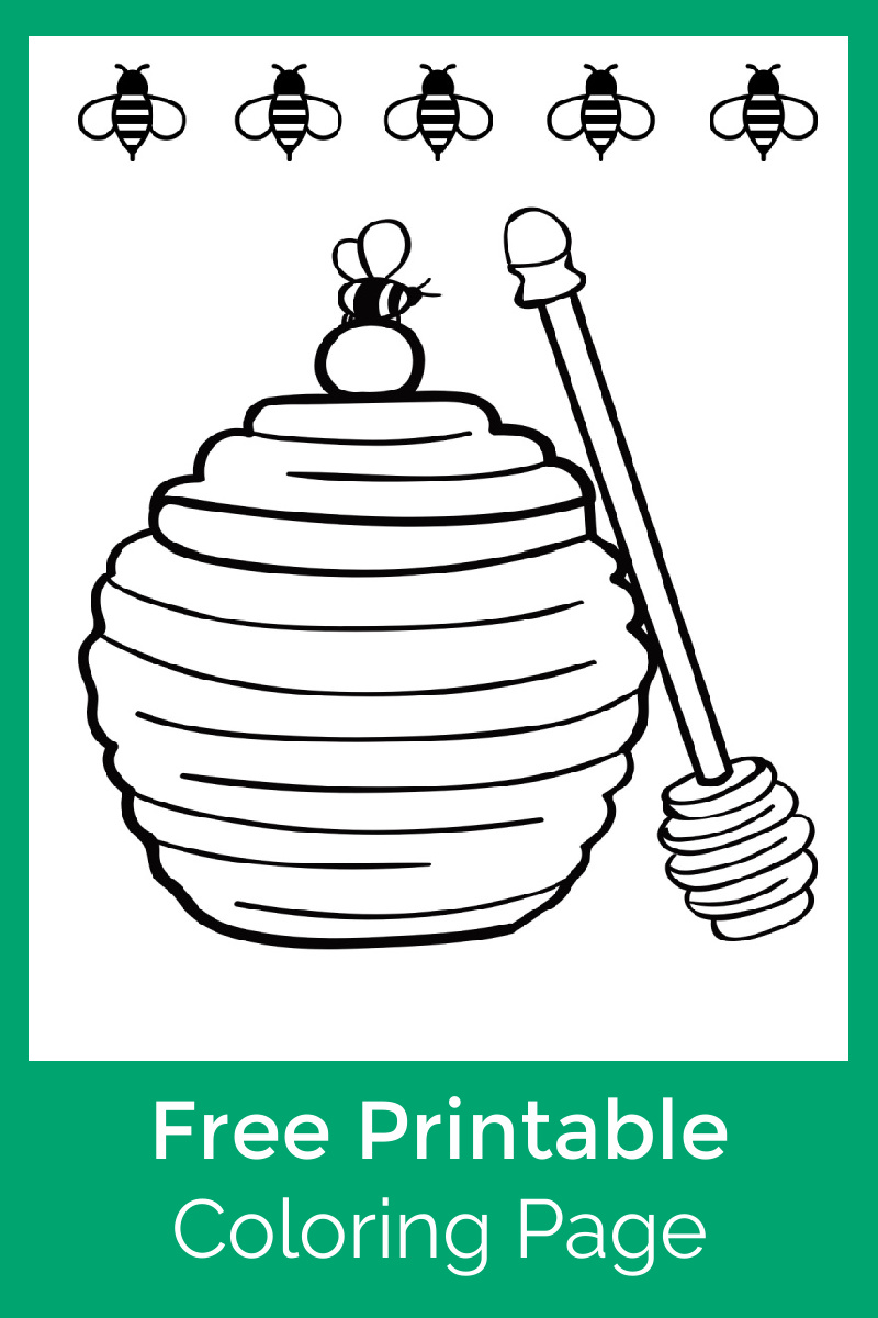 Bees and Honey Pot Coloring Page #FreePrintable