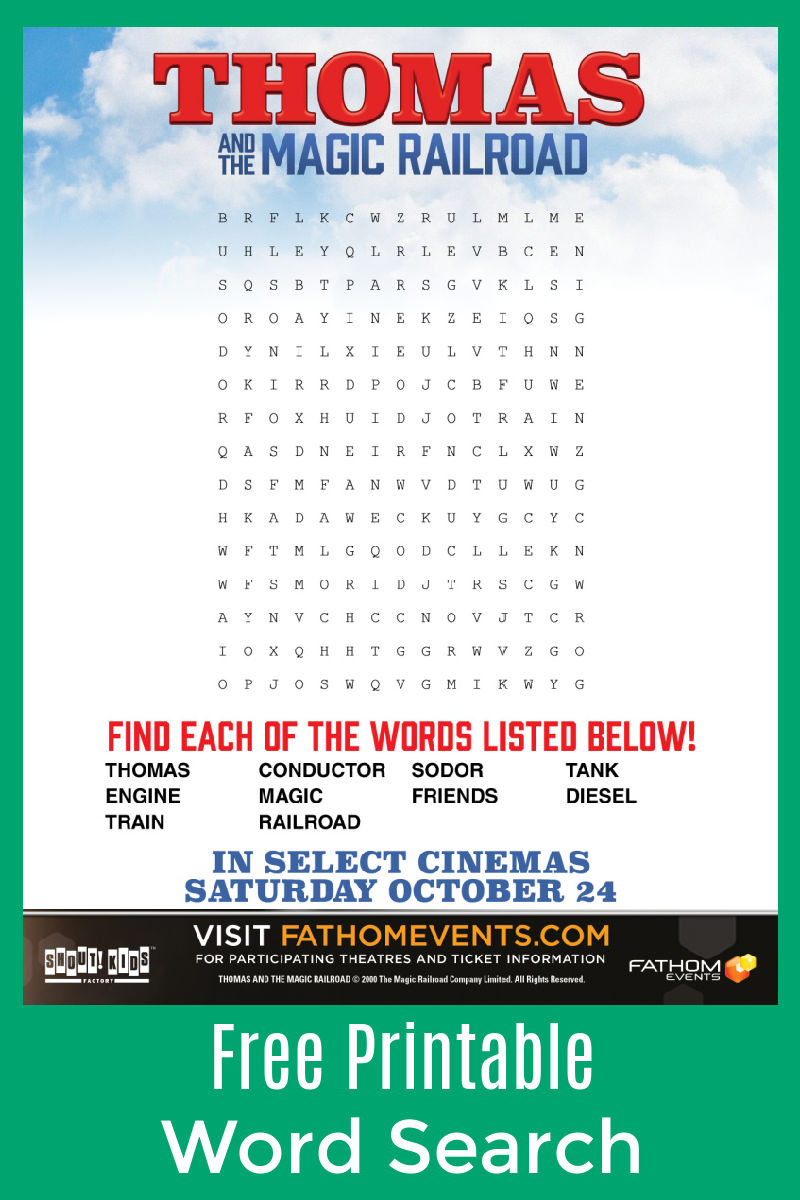 Thomas Word Search - a Free Printable from Thomas And The Magic Railroad Word Search