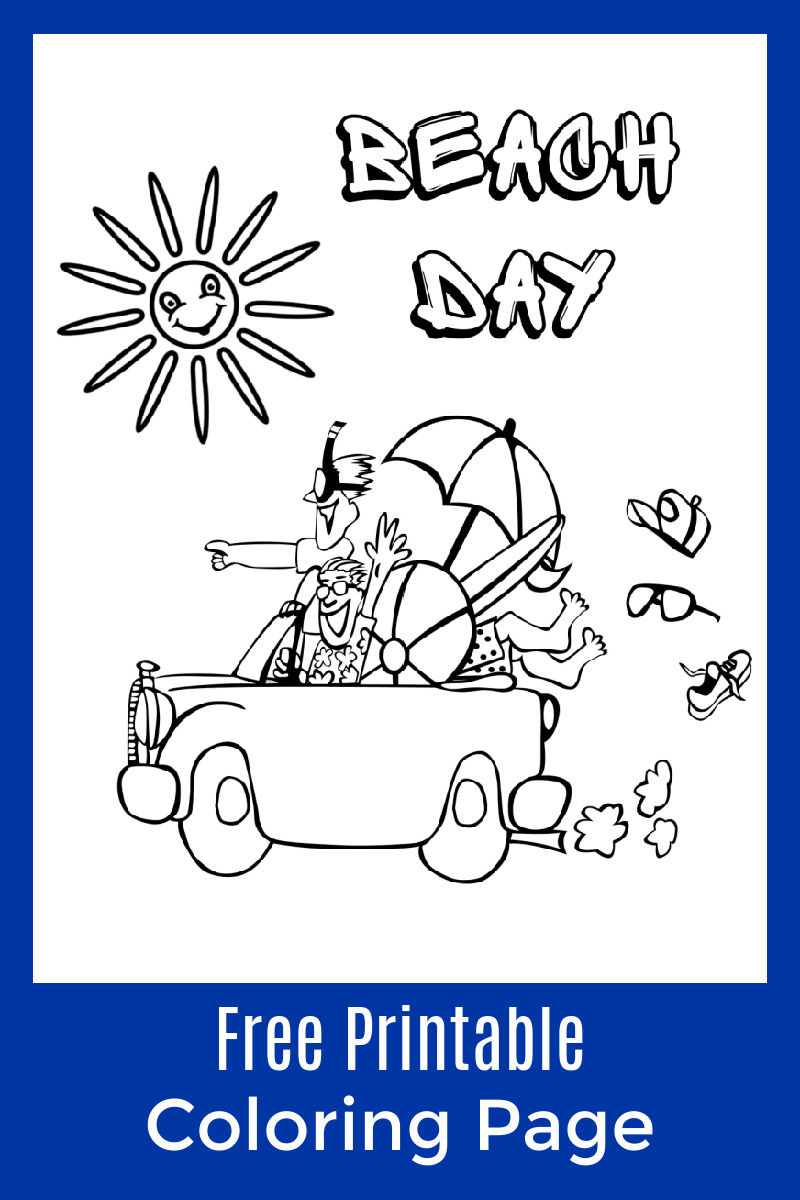 Beach Day Coloring Page