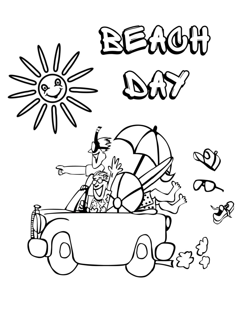 printable beach day coloring page