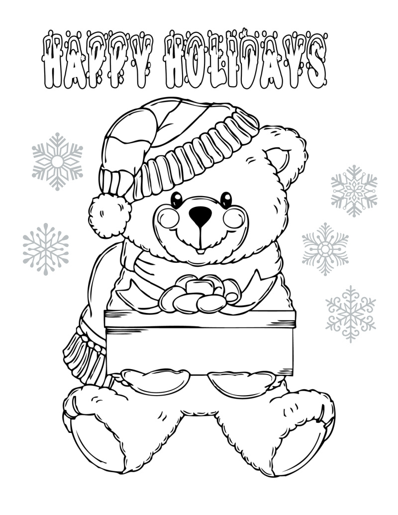 Christmas Bear Coloring Page For The Holidays Mama Likes This
