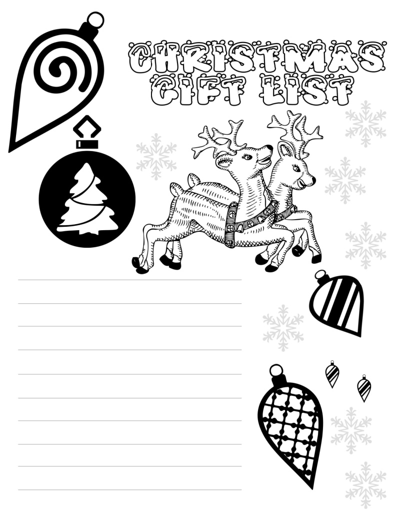 printable christmas gift list coloring page