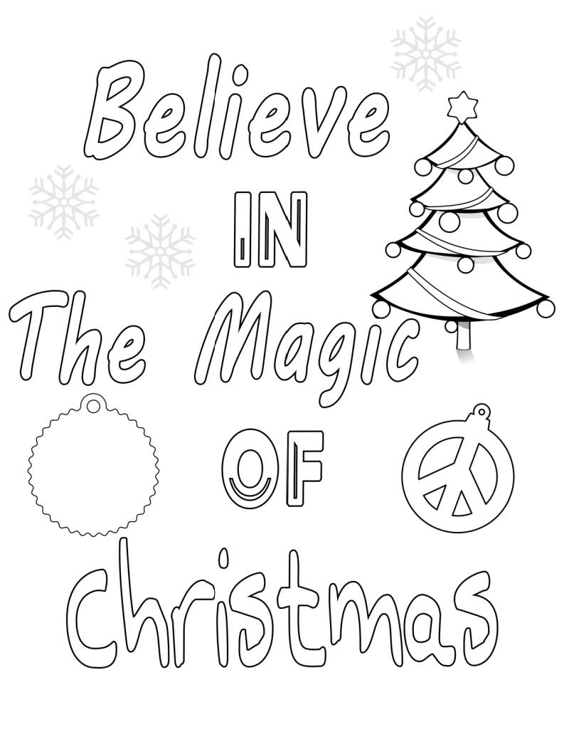 printable christmas magic coloring page