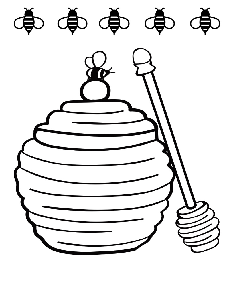 printable honey pot coloring page