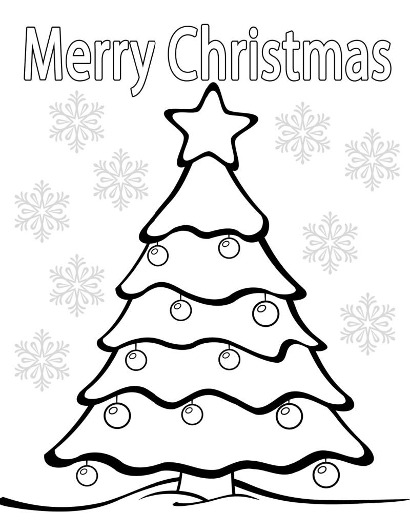 printable merry christmas tree coloring page
