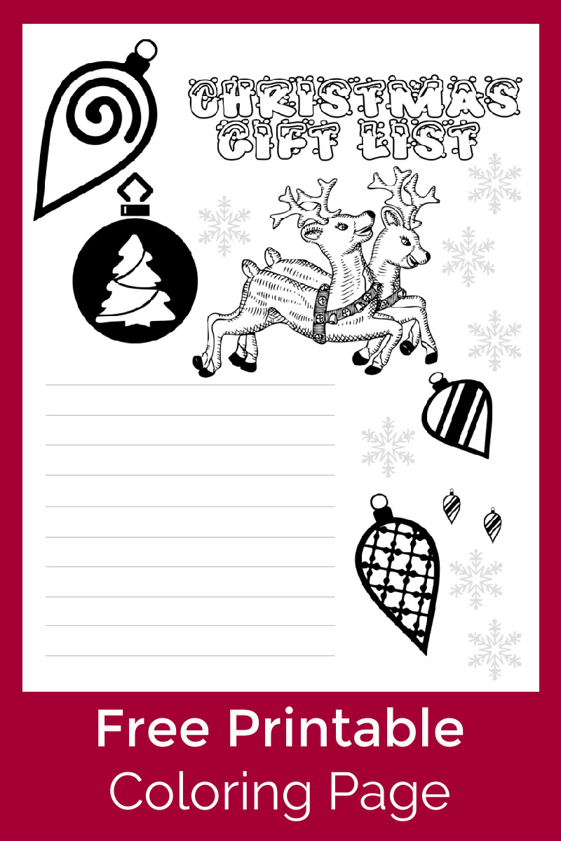 Christmas Gift List Coloring Page #FreePrintable