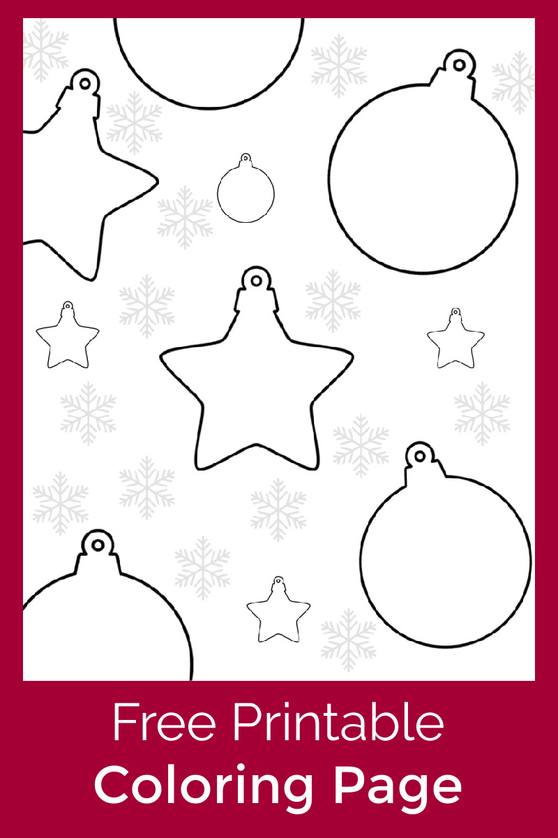red christmas ornaments coloring page