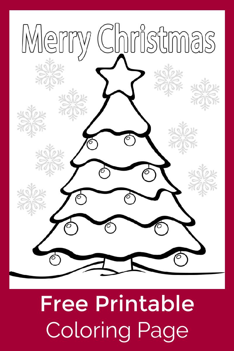 Merry Christmas Tree Coloring Page #FreePrintable