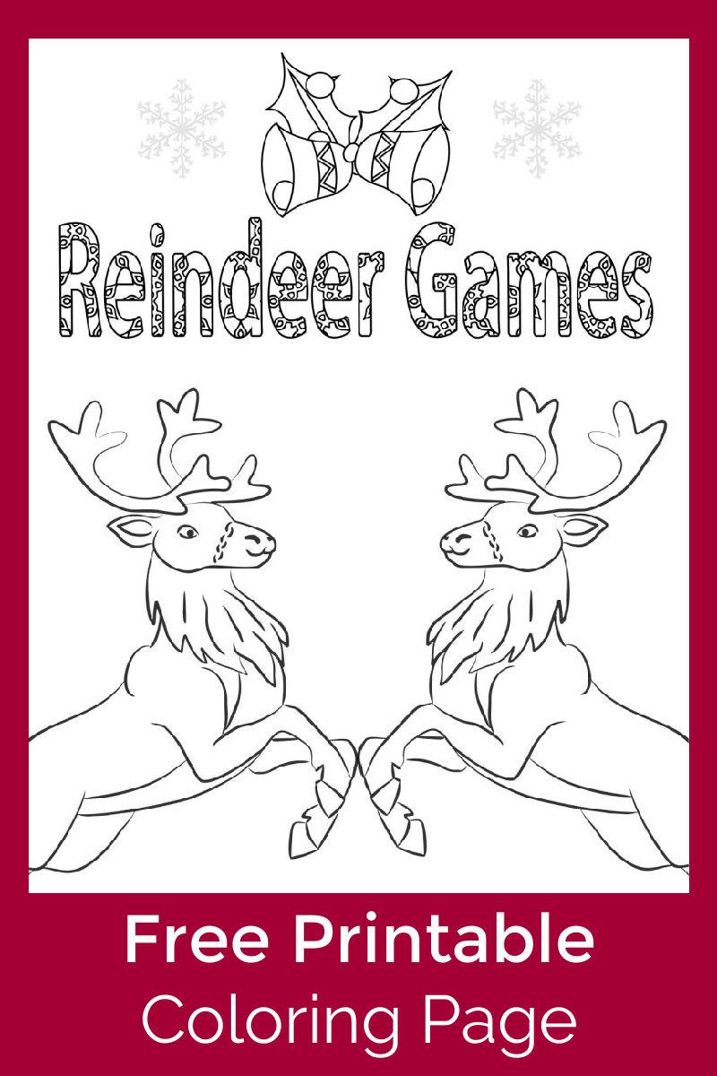 Reindeer Games Coloring Page #FreePrintable
