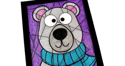 feature polar bear line study coloring page
