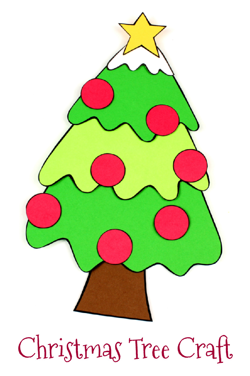 Paper Christmas Tree Craft with Free pdf Template