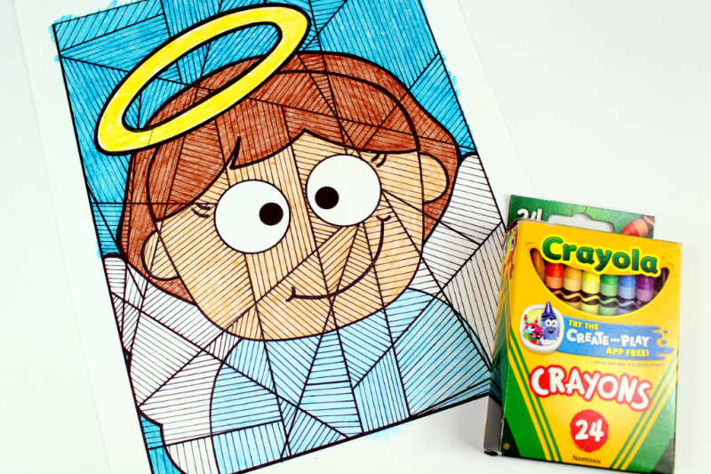 angel coloring page and crayons