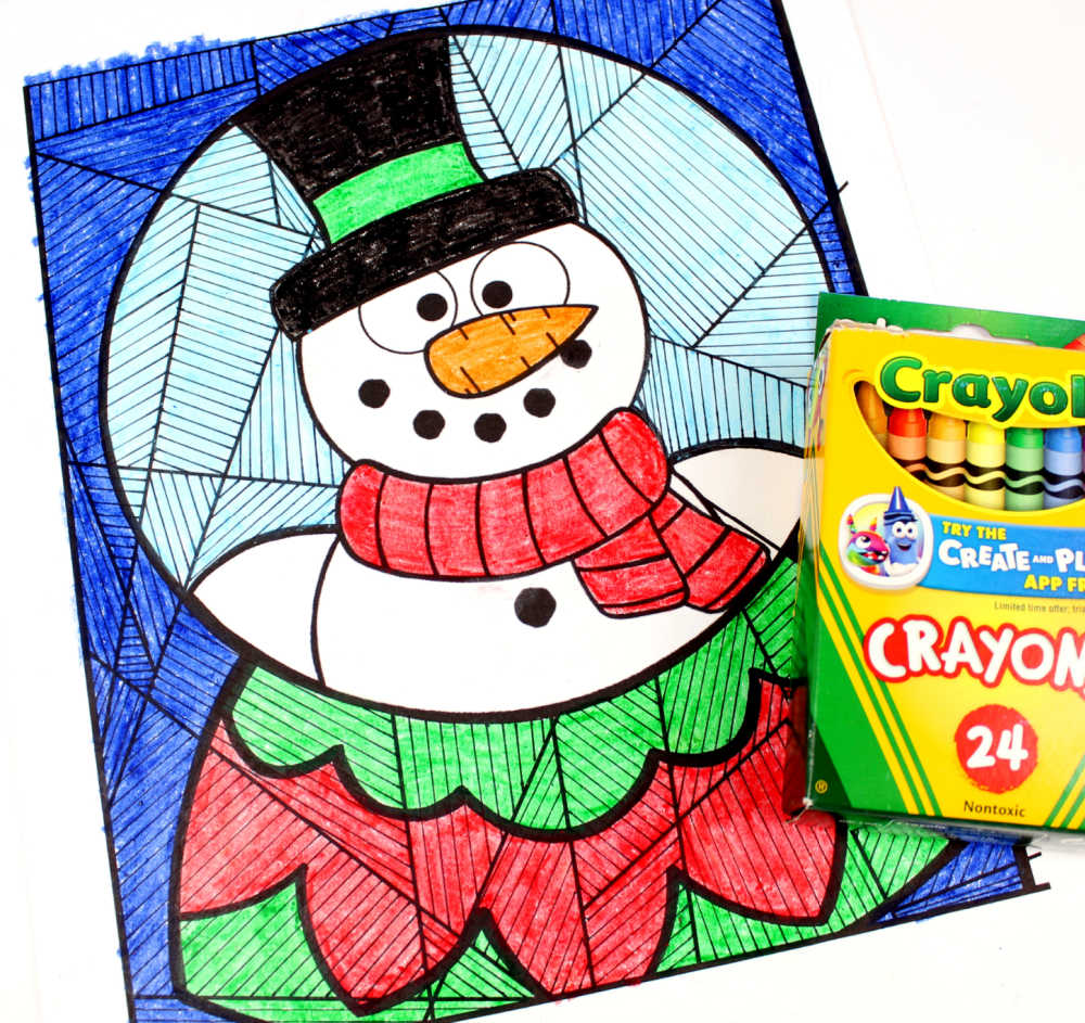 crayons and snow globe coloring page