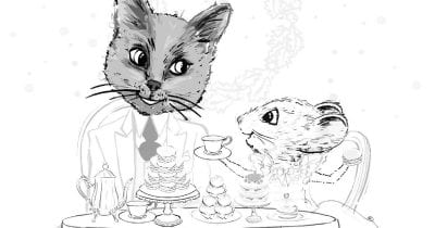 feature cat and mouse tea party coloring page