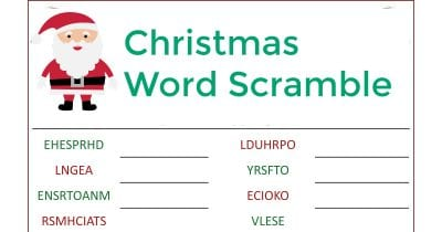 feature christmas word scramble
