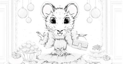 feature mouse party coloring page