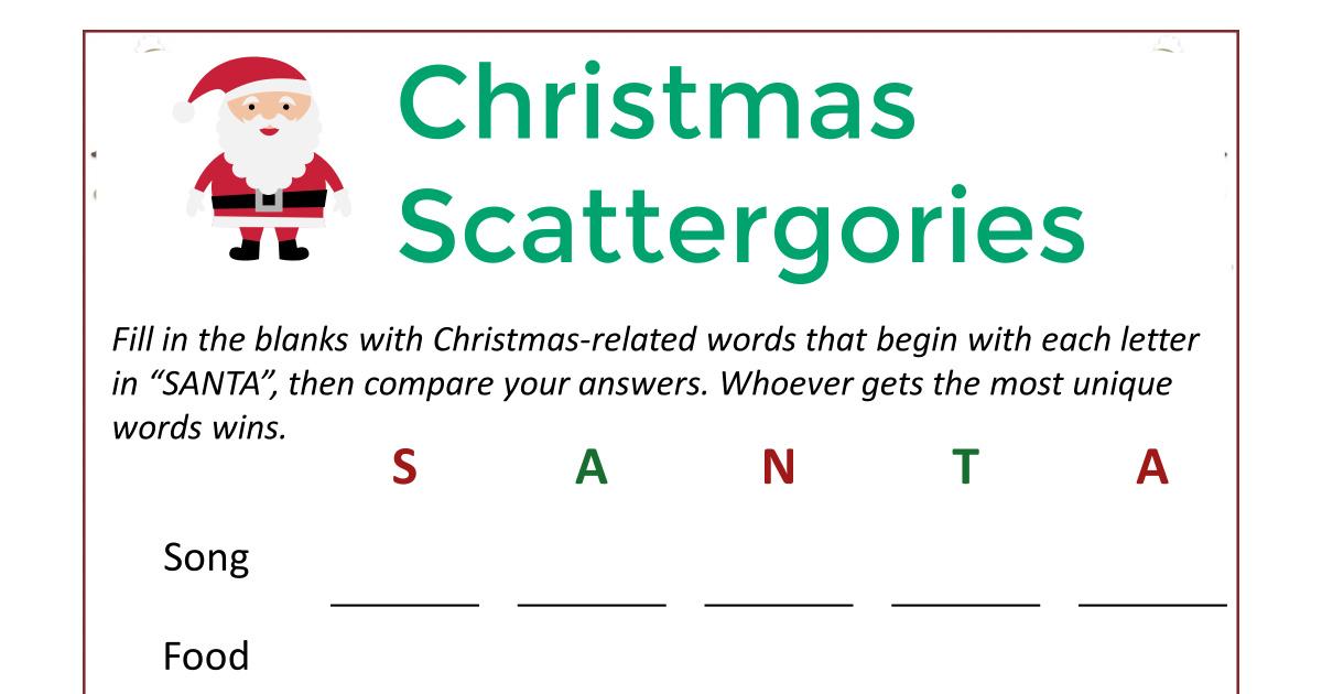 feature santa christmas scattergories