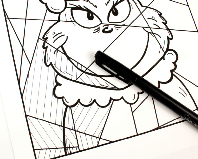 grinch coloring page process