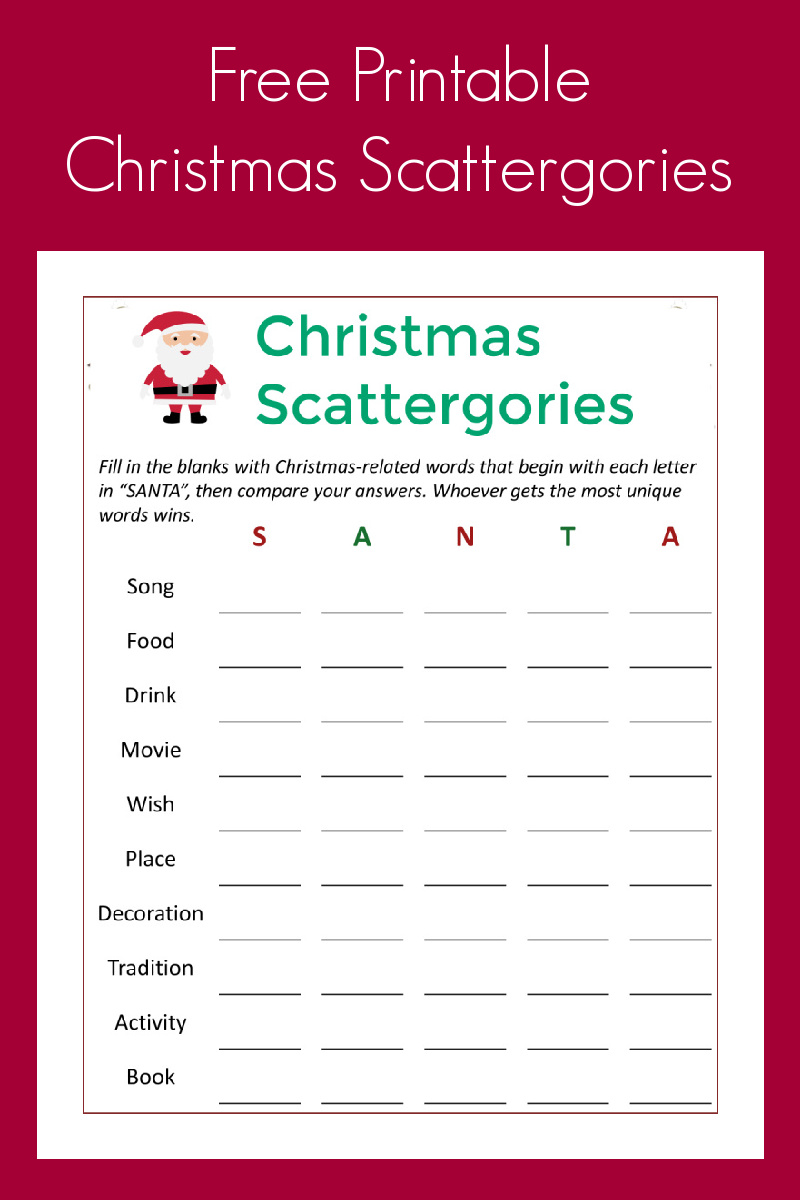You can have a whole lot of family fun, when you download my free printable Christmas scattergories party game.