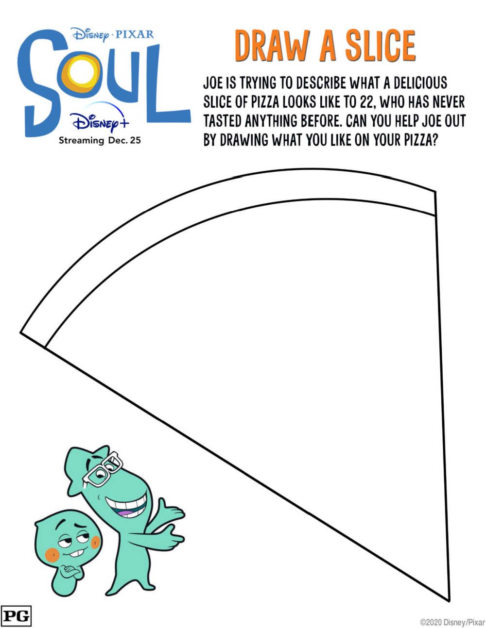 Your kids will have fun, when you download and print this cute Disney Pixar Soul coloring page pizza activity.
