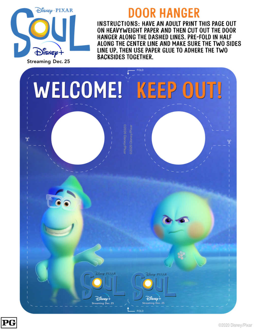 Your kids can create their own Disney Pixar Soul door hanger craft, when you download my free printable pdf.