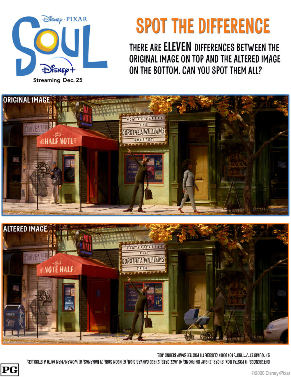 Test your observation skills, when you download the fun and free printable Disney Pixar Soul spot the difference activity page.