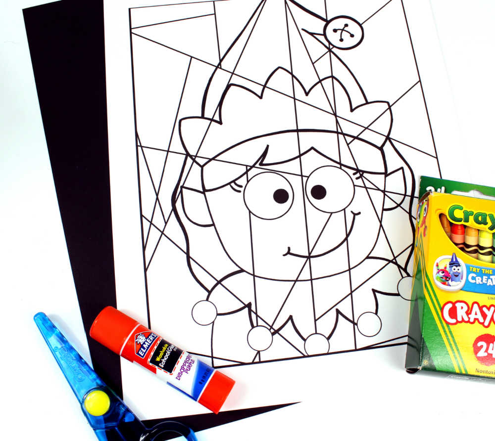 supplies for elf girl coloring page