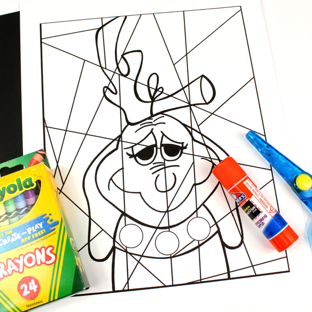 supplies for grinch dog coloring page