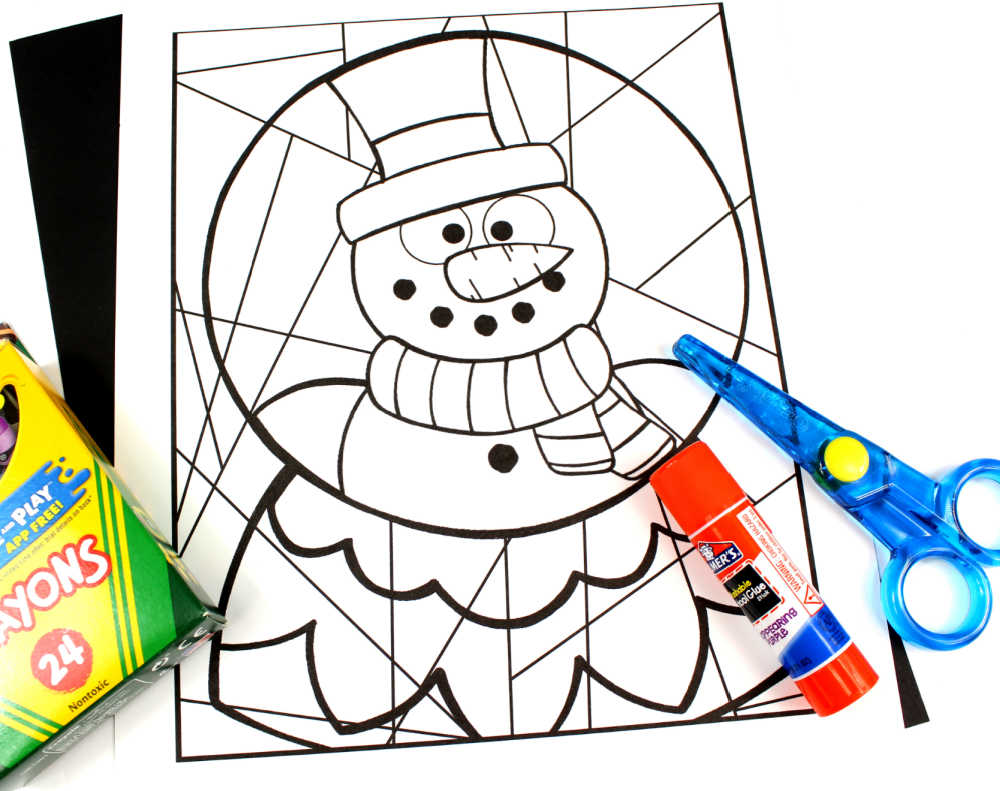supplies for snow globe coloring craft
