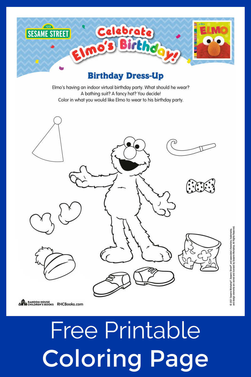 Kids can help this beloved Sesame Street character get ready for a party, when you download this free Elmo dress up coloring page.