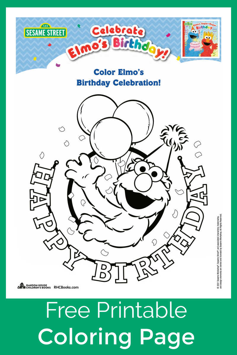 Have a happy birthday and fun celebration, when you download my free printable Elmo birthday coloring page.
