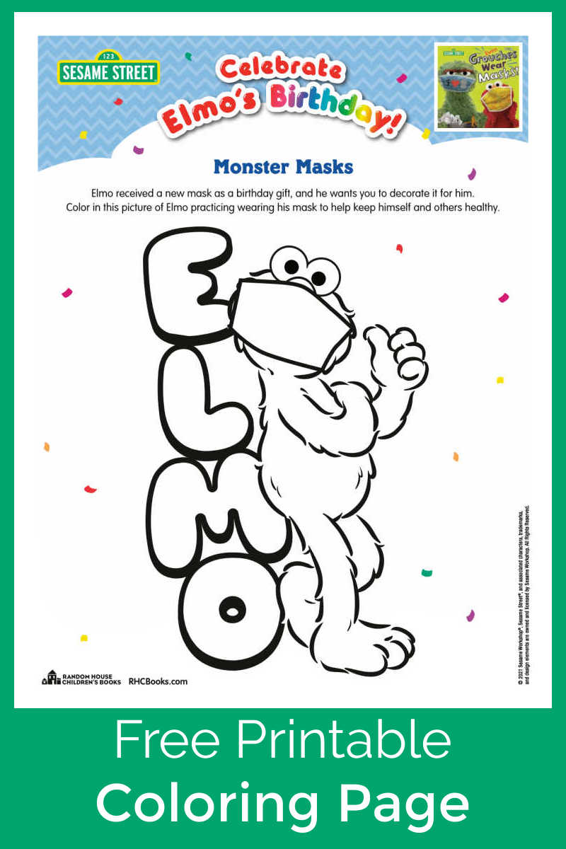 Kids will see that Elmo sets a great example, when you download and print this cute Elmo face mask coloring page.